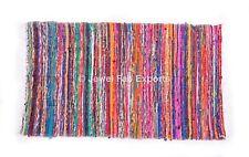 Handmade Saree Chindi Dharrie 4x6 ft Yoga Mat Carpet Hand Loomed Rug Yoga Mat