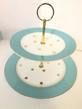 """Cynthia Rowley 2 Tier 10.5"""" & 8"""" Serving Plate•Gold Accent Trim, Polka Dots/Teal"""