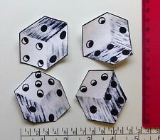 New 4 Dice black white cartoon iron on adhesive fabric appliques patch