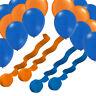 """12"""" X 100 Blue & Orange Plain Latex Ballons helium/air fill balloon 5mm ribbon"""