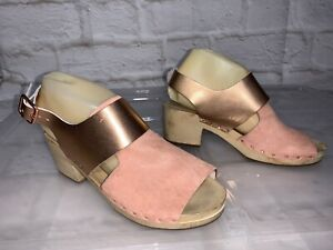 GORMAN Jade Pink And Rose Gold Leather Clogs Size 39 (8) #20746