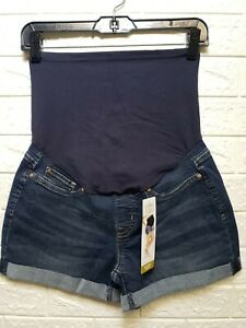 Signature x Levis Gold Label Maternity Mid Rise Shortie Shorts Blue Size Small