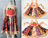 NEW Boutique Pumpkin Unicorn Girls Sleeveless Ruffle Twirl Halloween Dress