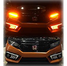 DRL Signal Running Fog Light JDM Lamps Amber Bezels for Honda Civic 2016-18 LED