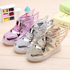 LED Light up Lace Up Luminous Sneakers Casual Shoes Wings Boys Girls Kids Mesh