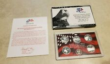 2007 US Mint 50 State Quarters Silver Proof Set . With CoA and box.