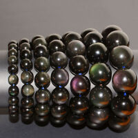 Natural AAA Eye Obsidian Round Beads Stretchable Bracelet Jewelry Hot dfs