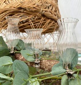 Set of 3 Mini Clip on Bud Stem Vases Hanging Glass Flower Wedding Decoration
