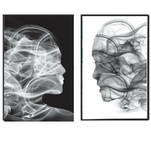 Framed prints Wall Pictures Frame Posters FRAMED Abstract Black White Faces A3