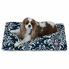 Navy Blue French Quarter Small Rectangle Indoor Outdoor Pet Dog Bed With Remo.