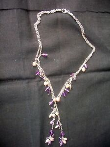 Sterling Silver 925 Freshwater Pearl pendant necklace with Real  Amethyst Boxed