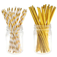 25PCs Foil Gold Stripe Paper Straws Wedding Drinking Straws Party Decoration  gt