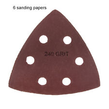 6 Pack: Large Triangular Size 240 Grit Velcro Hook & Loop Sanding Papers