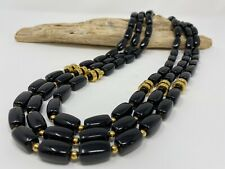 Beautiful Vintage 1980's Long Necklace, Black Beads with Gold tone, Brass Beads