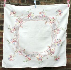 Vintage Square Embroidered Linen Tablecloth.  Ecru/Cream With Floral Design.