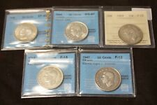 Lot of 5 x 50 Cent certified 1939 1944 1947 1949 1950