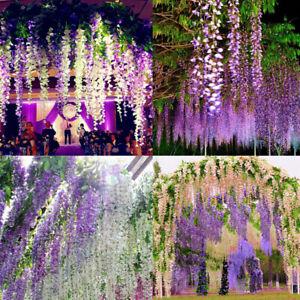 12Pcs110cm Artificial Wisteria Ivy Hanging Vine Faux Silk Vine Flower Garland UK