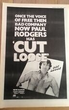 Paul Rodgers (Free,Bad Co.) Cut Loose 1983 Poster size Press ADVERT 16x12 inches
