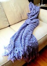 Purple Throw Blanket Light Purple  Blanket Fringe Afghan Handmade READY TO SHIP