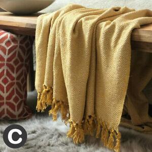 100% Cotton Herringbone Mustard Ochre Yellow Fringe Bed Chair Sofa Throw Blanket