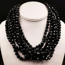 Hattie Carnegie 7 Strand Bib Necklace Black Faceted Glass Beads Vintage