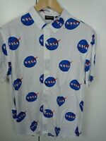 Chemistry Men's NASA Short Sleeve White Button Down Shirt Size Large Retail$35
