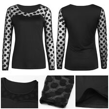Autumn Fashion Womens Long Sleeve Shirt Casual Ladies Lace Blouse Tops T Shirt N