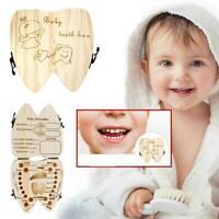 1x Baby Tooth Box Wooden Teeth Organizer Storage Souvenir Case Hot English Q8O1