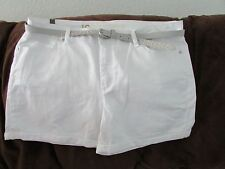 "Ladies ""Lauren Conrad"" Size 16, White Denim, Mid Rise, Belted, Cuffed, Shorts"