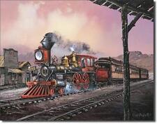 Wildwest Eisenbahn USA Nostalgie Dampflok Metall Deko Schild