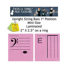 Bass 1st Pos Mini-On-A-Ring Laminated Music Flashcards