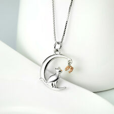 Crescent Moon&Star Lovely Cat Animal Pendant 925 Sterling Silver Cz Necklaces