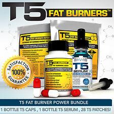 T5 Quemadores De Grasa Power Bundle Xt-más fuerte para adelgazar / Dieta Pastillas + Suero Xt + Parche