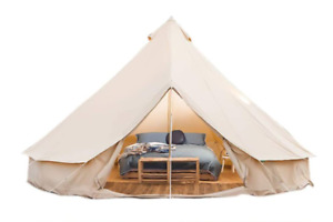 4M Waterproof Canvas Bell Tent Glamping Hunting Camping Tent Yurt Stove Jack