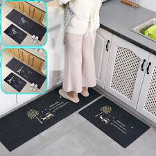 2PCS Home Kitchen Floor Mat Non-Slip Runner Anti Fatigue Rug Set Door Decor UK