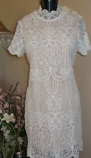 Skies are Blue White Short Sleeve Lace Wedding Coctail Dress Size M - NWT