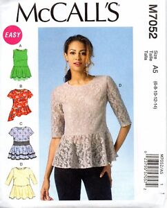 McCall's Sewing Pattern M7052 Misses' Semi-fitted Pullover Peplum Top Size 6-14