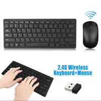 USB 2.4GHZ Wireless Slim Keyboard and Cordless Mouse Combo Kit Set for Laptop PY