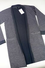 NWT $435 Theory Navy Striped Wool Armelle Sweater Coat, Size Medium