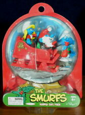 Smurfs Christmas Smurf Holiday Gift Pack Smurfette Papa Elf Toy Figures Sleigh