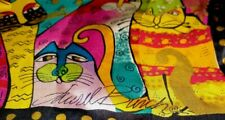 "Laurel Burch Crazy Cat Pattern Silk Scarf 52"" x 10"""