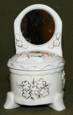 Vintage small hand made porcelain trinket box with mirror