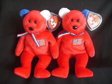 NWT TY BEANIE BABY BEARS AMERICA - RED BEARS REVERSED EARS