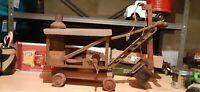 Vtg KEYSTONE RIDE 'EM PRESSED STEEL Toy STEAM SHOVEL BUCKET LOADER METAL Highway