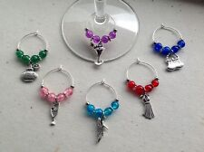 Handmade Set of 6 Wine Glass Charms, Girlie Theme, Birthday, Hen Party, gift bag