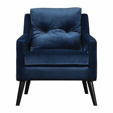 Retro Modern Dark Blue Velvet Arm Chair | Vintage Plush Deep Danish