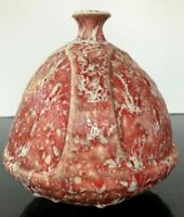 Vintage Mid Century Pottery German Re FAT LAVA Rounded Triangle VASE Helmet 7""