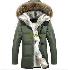 Cálida Abrigo para hombres Genuino Ganso cuello grande de piel con capucha Abrigos Parka Plus Sz