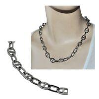 Collier grosse chaîne maille marine en acier inoxydable argenté 48cm bijou