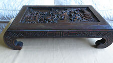 """Old Chinese Low  Wood Table Kang Intricately Carved Scenes Dark Hardwood 23""""long"""